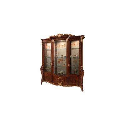 3-ajtós vitrines szekrény, díszkoronával