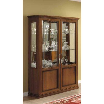 2-ajtós, üveges tálalóvitrin 2 szpotlámpával és tükrös hátlappal