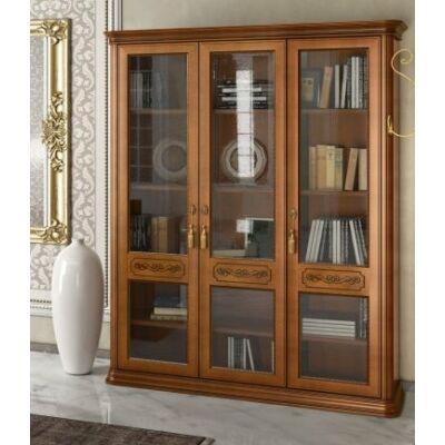Könyvszekrény 3 üvegajtóval, 4 fa polccal