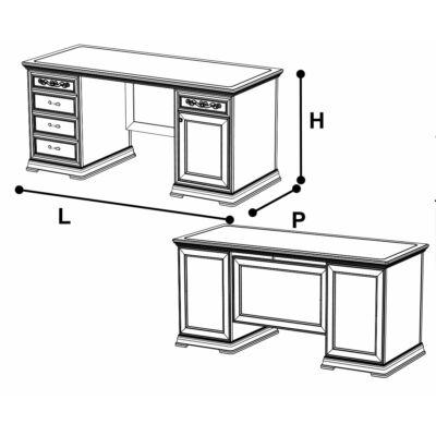 Íróasztal ajtós és fiókos résszel, fazettás hátoldallal