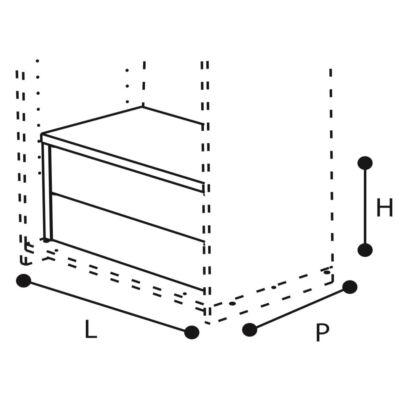Belső 2 fiókos elem - dió