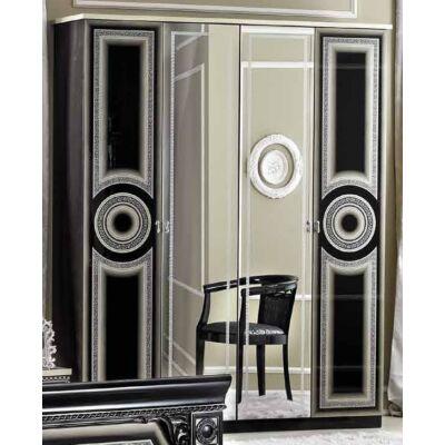 4-ajtós szekrény, 2 tükrös ajtóval - fekete-ezüst