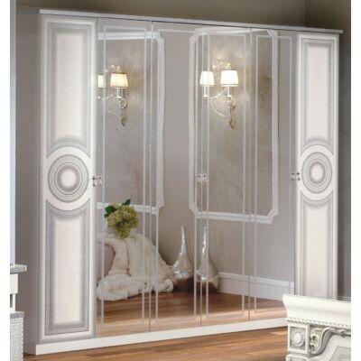 6-ajtós szekrény, 4 tükrös ajtóval - fehér-ezüst