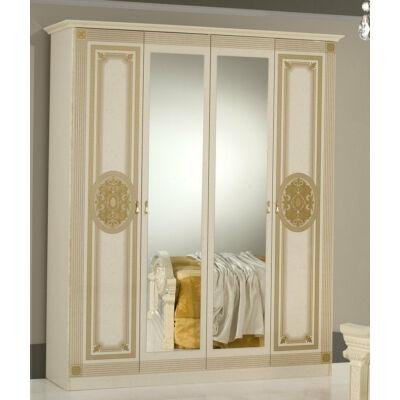 DI Kate 4-ajtós szekrény, 2 tükrös ajtóval - bézs
