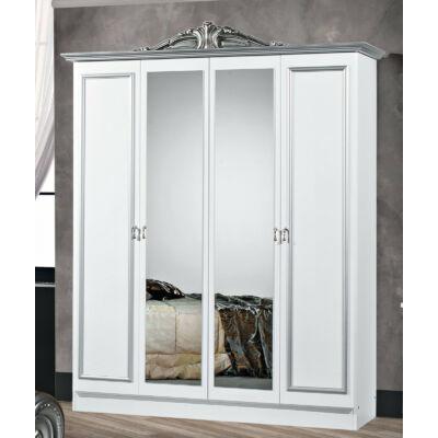 4-ajtós szekrény, 2 tükrös ajtóval - fehér-ezüst