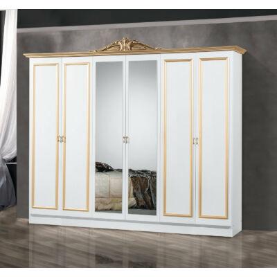 6-ajtós szekrény, 2 tükrös ajtóval - fehér-arany