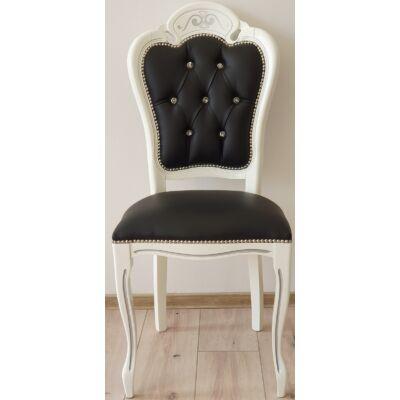 H2 Prestige fehér szék fekete műbőrrel, Swarovski kristályokkal