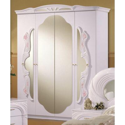 4-ajtós tükrös szekrény - fehér