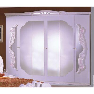 6-ajtós tükrös szekrény - fehér