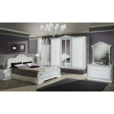 Lion klasszikus olasz stílusú hálószoba garnitúra, fehér-ezüst színben
