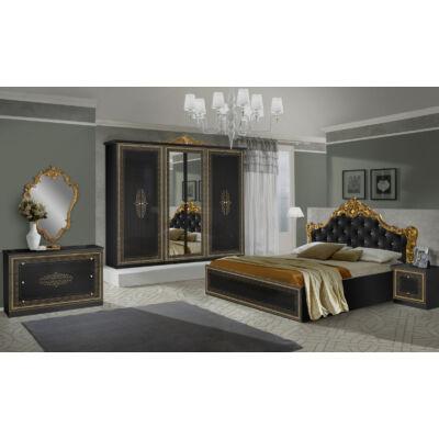 Anette klasszikus olasz stílusú hálószoba garnitúra, fekete-arany színben