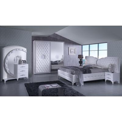 Antalia modern olasz stílusú hálószoba garnitúra, fehér színben