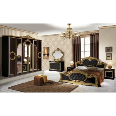 Barocco klasszikus olasz stílusú hálószoba garnitúra, fekete-arany színben