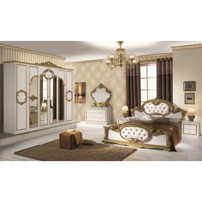 Barocco klasszikus olasz hálószoba garnitúra, fehér-arany színben
