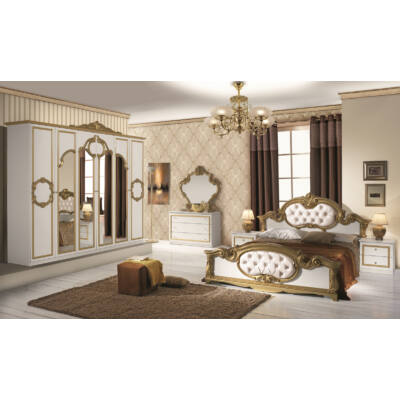 Barocco klasszikus olasz stílusú hálószoba garnitúra, fehér-arany színben