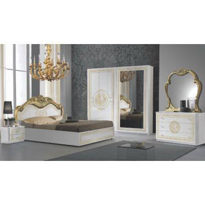Dolores klasszikus olasz stílusú hálószoba garnitúra, fehér-arany színben