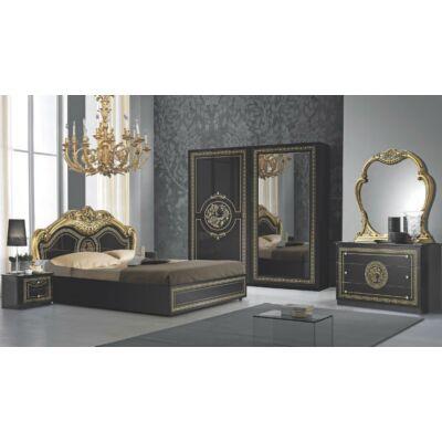 Dolores klasszikus olasz stílusú hálószoba garnitúra, fekete-arany színben