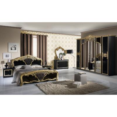 Eva klasszikus olasz hálószoba garnitúra, fekete-arany színben