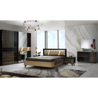 Glamour klasszikus olasz stílusú hálószoba garnitúra, fekete-arany színben