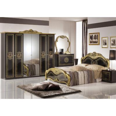 Laura klasszikus olasz hálószoba garnitúra, fekete-arany színben