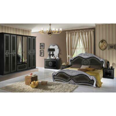 Laura klasszikus olasz stílusú hálószoba garnitúra, fekete-ezüst színben