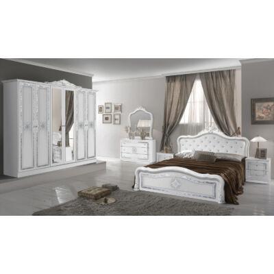 Luisa klasszikus olasz stílusú hálószoba garnitúra, fehér-ezüst színben