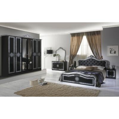 Luisa klasszikus olasz stílusú hálószoba garnitúra, fekete-ezüst színben