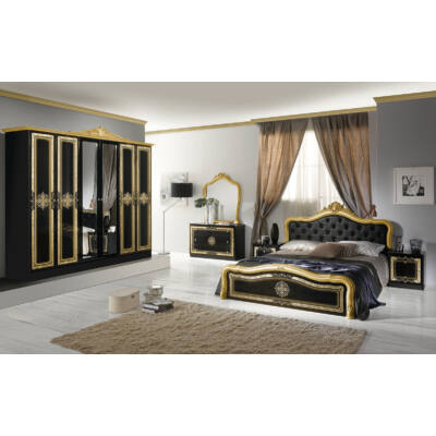 Luisa klasszikus olasz stílusú hálószoba garnitúra, fekete-arany színben