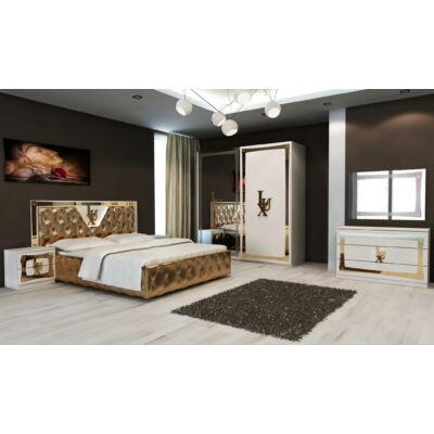 Lux klasszikus olasz hálószoba garnitúra, fehér-arany színben