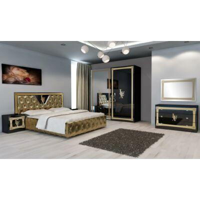 Lux klasszikus olasz hálószoba garnitúra, fekete-arany színben