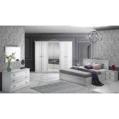Olimp klasszikus olasz stílusú hálószoba garnitúra, fehér-ezüst színben