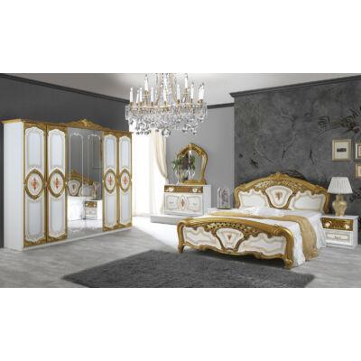 Samanta klasszikus olasz stílusú hálószoba garnitúra, fehér-arany színben