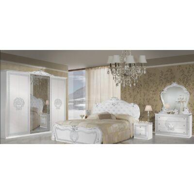 Vilma klasszikus olasz stílusú hálószoba garnitúra, fehér-ezüst színben