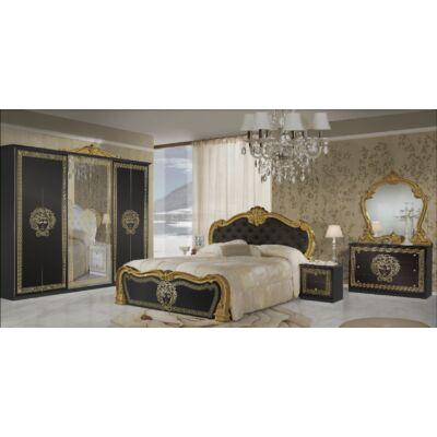 Vilma klasszikus olasz hálószoba garnitúra, fekete-arany színben