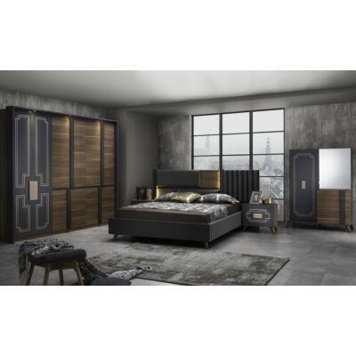 Beata modern olasz stílusú hálószoba garnitúra, dió-fekete színben