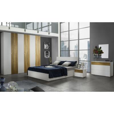 Patrizia modern olasz stílusú hálószoba garnitúra, fehér-tölgy színben