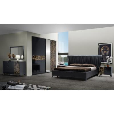 Savanna modern olasz stílusú hálószoba garnitúra, fekete színben