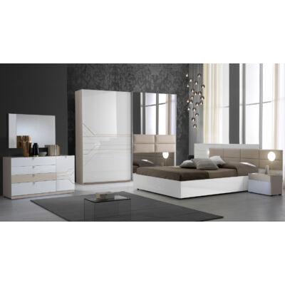 Tijana modern olasz stílusú hálószoba garnitúra, fehér-bézs színben
