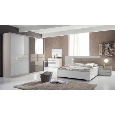 Tijana modern olasz hálószoba garnitúra, fehér-bézs színben