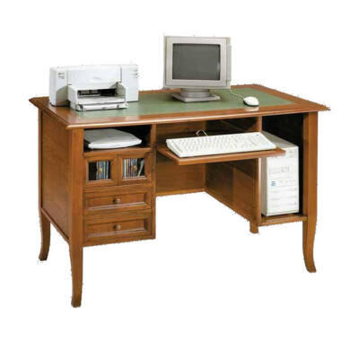 Íróasztal - számítógépes polccal - műbőr tetővel - dió pácolás
