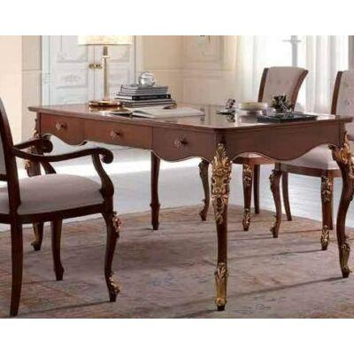 Nagyméreű íróasztal - fényes dió Bassano antikolással és aranyfólia díszítéssel