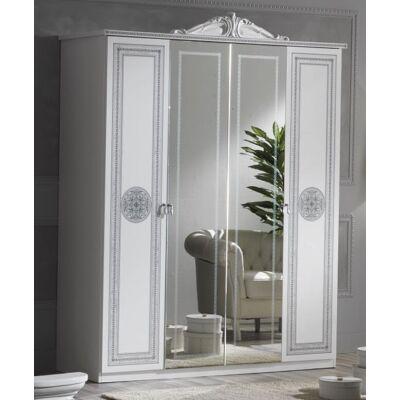 4-ajtós szekrény, 2 tükrös ajtóval - fehér