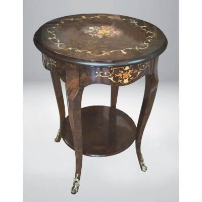 Diófagyökér intarziás asztalka