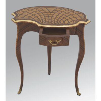 Egyfiókos, intarziás asztalka