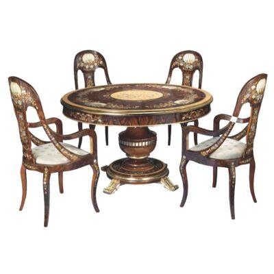 Intarziás étkezőasztal