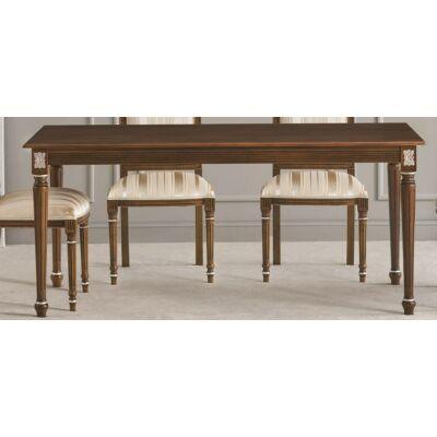Szögletes étkezőasztal tanganyika fa fedlappal, hosszabbítható