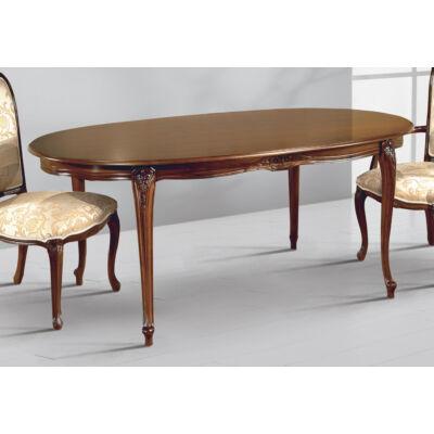Ovális étkezőasztal tanganyika fa fedlappal, hosszabbítható