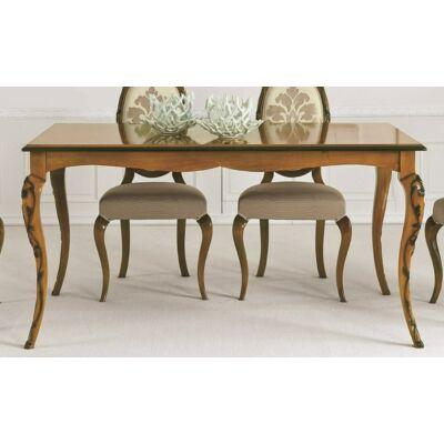 Fiocco szögletes étkezőasztal tanganyika fa fedlappal, hosszabbítható