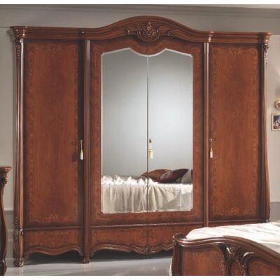4-ajtós szekrény, 2 tükrös ajtóval - dió, magasság: 261 cm