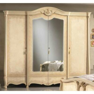 Sovrana 4-ajtós szekrény, 2 tükrös ajtóval - bézs, magasság: 261 cm